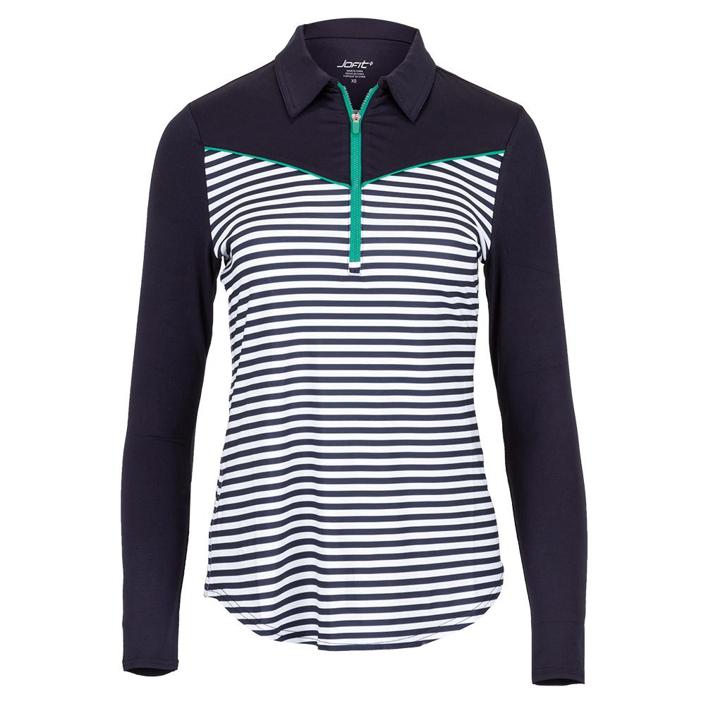 Women's Long Sleeve Pointed Yoke Tennis Polo