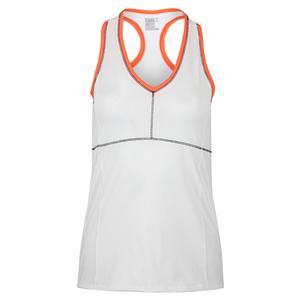Women`s Hi-Motion V-Neck Tennis Tank White and Coral Trim
