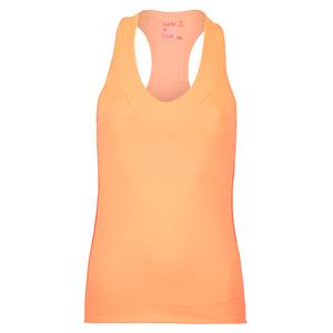 Women`s V-Neck Tennis Tank with Bra Coral