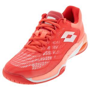Women`s Mirage 100 Speed Tennis Shoes Red Fluo and All White