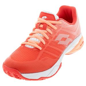 Women`s Mirage 300 II Speed Clay Tennis Shoes Red Fluo and All White