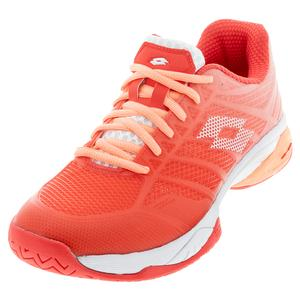 Women`s Mirage 300 II Speed Tennis Shoes Red Fluo and All White