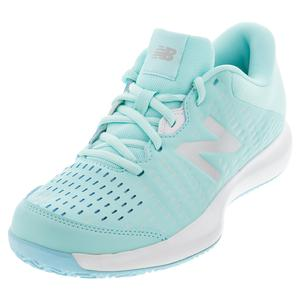 Women`s 696v4 B Width Tennis Shoes Bali Blue and White