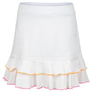 Girls` Double Ruffle Trim Tennis Skort White