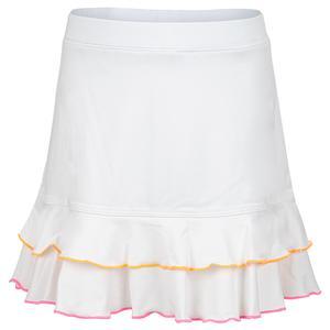 Girls` Double Ruffle Trim Tennis Skort White
