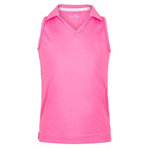 Girls` V-Neck Sleeveless Tennis Polo Pink