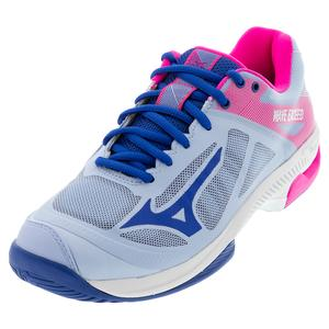 Women`s Wave Exceed SL AC Tennis Shoes Light Blue and Navy