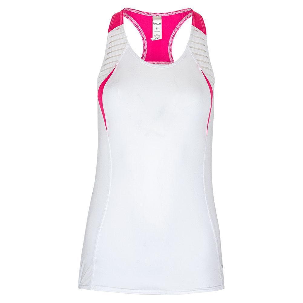 Women's English Rose Racerback Tennis Tank White
