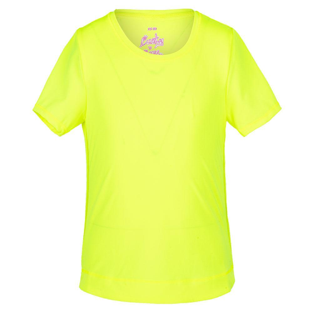 Girls ` Dynamic High- Low Short Sleeve Tennis Top Neon Yellow