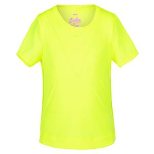 Girls` Dynamic High-Low Short Sleeve Tennis Top Neon Yellow