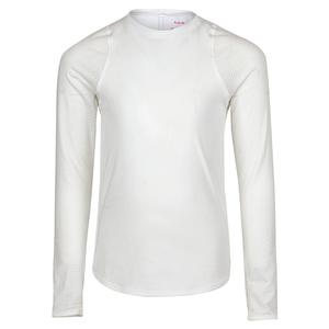 Girls` Athletic Long Sleeve Tennis Top White