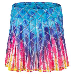 Women`s Long Tie Dye Mesh Pleated Tennis Skirt
