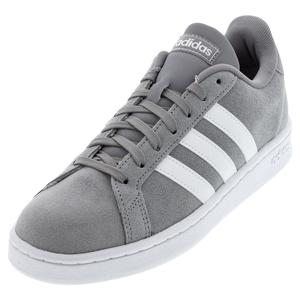 Men`s Grand Court Tennis Shoes Gray Three and White