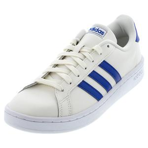 Men`s Grand Court Tennis Shoes Cloud White and Royal Blue