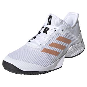 Women`s Adizero Club 2 Tennis Shoes White and Copper Metallic