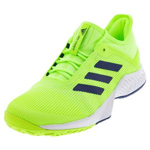 Men`s Adizero Club 2 Tennis Shoes Signal Green and White
