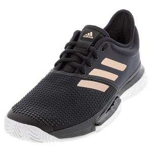 Women`s SoleCourt Boost Parley Tennis Shoes Black and Footwear White
