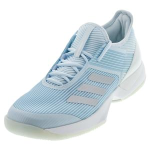 Women`s Adizero Ubersonic 3 Tennis Shoes Sky Tint and Silver Metallic