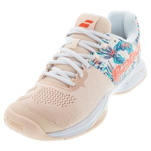 Women`s Propulse Blast All Court Tennis Shoes Silver Peony and Flower