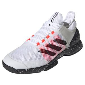 Men`s Adizero Ubersonic 2 Tennis Shoes White and Signal PInk