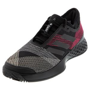 Men`s Adizero Ubersonic 3 Tennis Shoes Black and Signal PInk