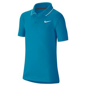 Boys` Team Court Dry Tennis Polo Neo Turq and White