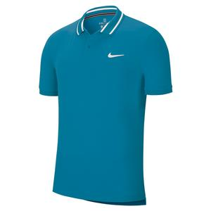 Men`s Court Dry Pique Tennis Polo Neo Turq and White