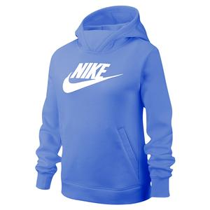 Girls` Sportswear Pullover Hoodie Royal Pulse and White