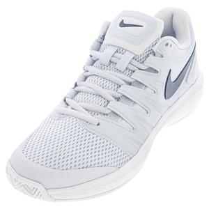 Women`s Air Zoom Prestige Tennis Shoes Football Grey and Midnight Navy