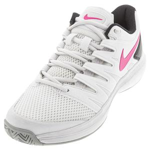 Women`s Air Zoom Prestige Tennis Shoes White and Laser Fuchsia