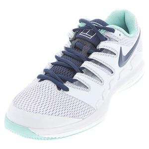 Women`s Air Zoom Vapor X Tennis Shoes Football Grey and Midnight Blue