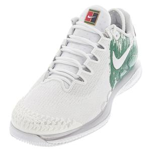 Men`s Air Zoom Vapor X Knit Tennis Shoes White and Clover