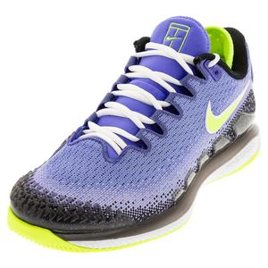 Women`s Air Zoom Vapor X Knit Tennis Shoes Sapphire and Hot Lime