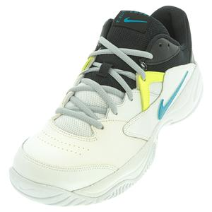 Men`s Court Lite 2 Tennis Shoes White and Neo Turq