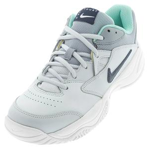 Women`s Court Lite 2 Tennis Shoes Football Grey and Midnight Navy