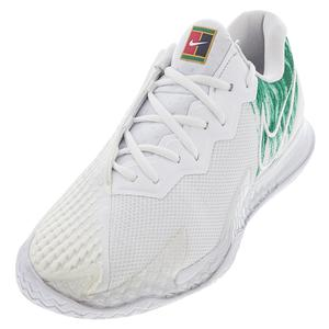 Men`s Air Zoom Vapor Cage 4 Tennis Shoes White and Clover