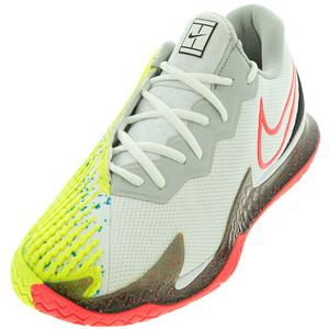 Men`s Air Zoom Vapor Cage 4 Tennis Shoes White and Solar Red