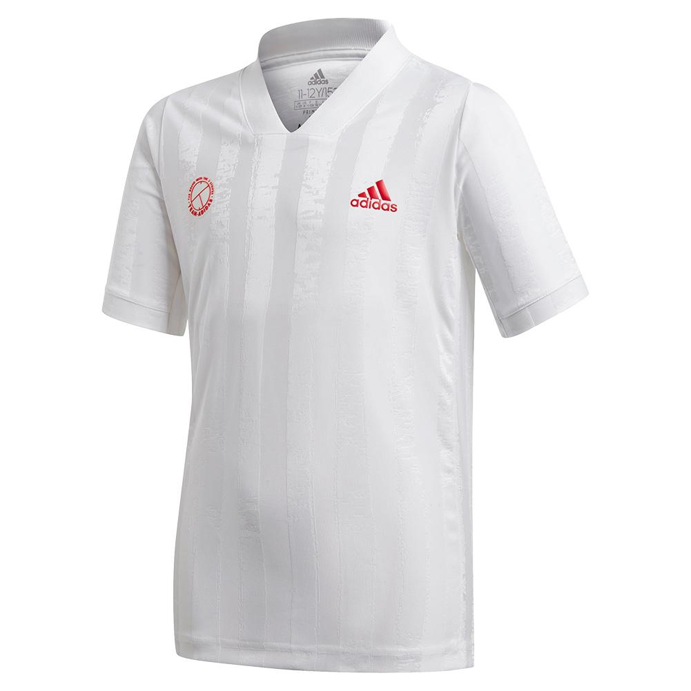 Boys ` Freelift Tennis Top White And Scarlet