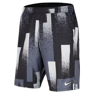 Men`s Court Dry Print 9 Inch Tennis Short Black and White