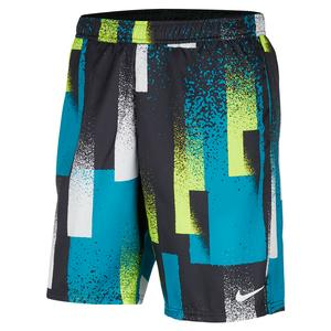 Men`s Court Dry Print 9 Inch Tennis Short Topaz Mist and White