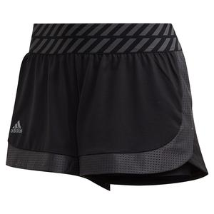 Women`s Match 2-in-1 Tennis Short Black and Grey Three
