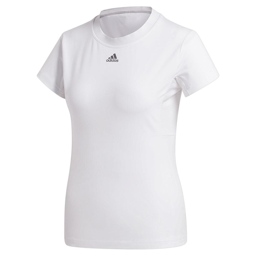 Women's Short Sleeve Tennis Top White And Grey Four