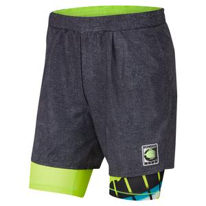 Men`s New York Team Court Flex Ace 9 Inch Tennis Short Black and Hot Lime