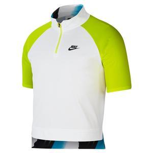 Men`s New York Court Slam Half Zip Tennis Polo White and Hot Lime