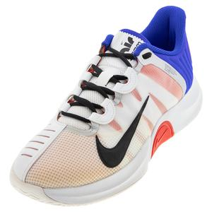 Men`s Court Air Zoom GP Turbo Tennis Shoes White and Racer Blue