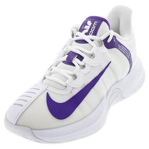 Men`s Court Air Zoom GP Turbo Tennis Shoes White and Court Purple
