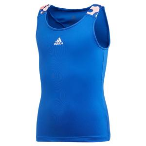 Girls` Keyhole Tennis Tank Team Royal Blue
