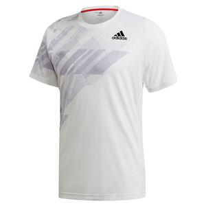 Men`s HEAT.RDY Freelift Print Tennis Top White and Power Pink