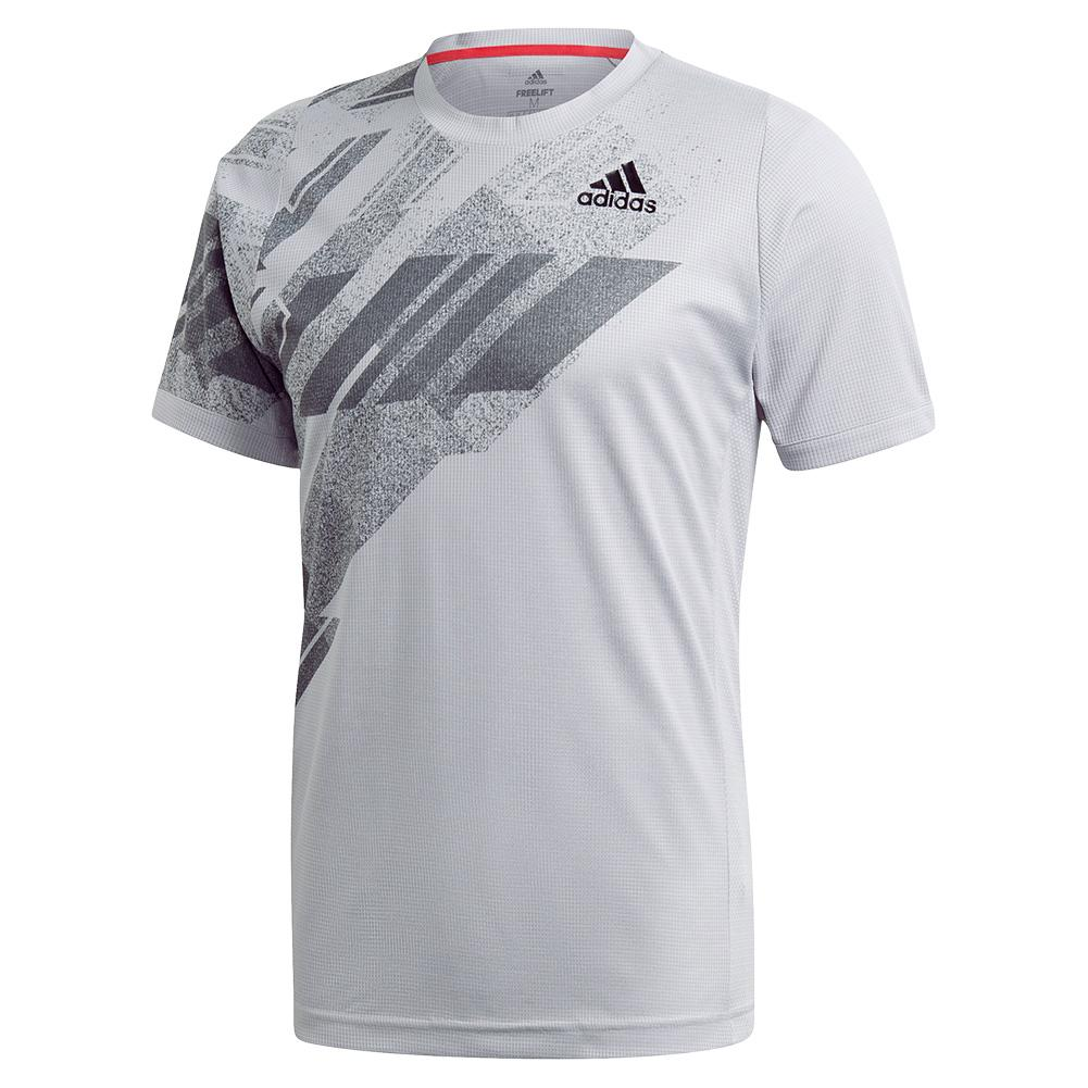 Men's Heat.Rdy Freelift Print Tennis Top Glory Grey And Powder Pink