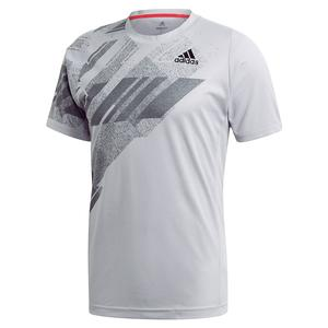 Men`s HEAT.RDY Freelift Print Tennis Top Glory Grey and Powder Pink